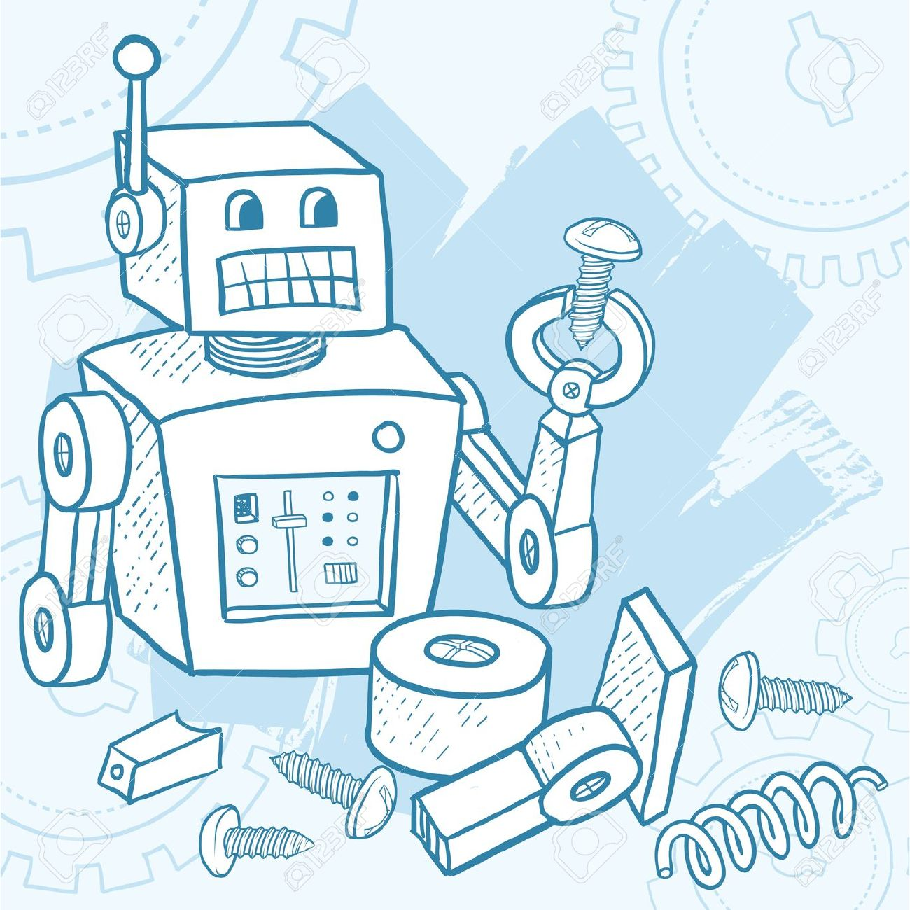 13543760-broken-robot-assembling-itself-with-parts-and-screws-laying-around-stock-photo